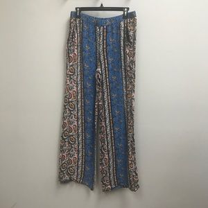 Ella Moss Blue Boho Chic Print Wide Leg Pants